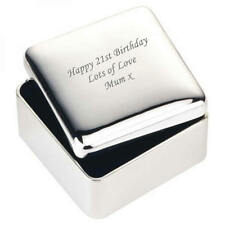 Personalised Engraved Square Silver Plated Jewellery Trinket Box (XAC25)