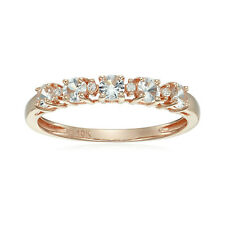 10k Rose Gold White Sapphire and Diamond Accented Stackable Ring, Size 7