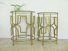 Gold Metal Nesting Table Set, End Table, Modern, Brutalist, Geometric, Urban