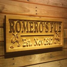 wpa0164 Name Personalized PUB Cheers with Est. Date Wood Engraved Wooden Sign