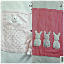 KNITTING PATTERN Baby Cot Blankets Bunny Rabbit tails Cuddles DK King Cole 4006