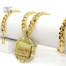 "Iced Men Hip Hop 14k Gold Plated Last Supper CZ Pendant 30"" Cuban Link Chain"