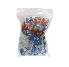10 dice 10 faces Clear various colours accessories games rôle 10 x D10