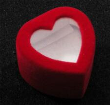 Red Flocked Velveteen White Lining HEART Top Window Ring Jewelry Hinged Gift Box
