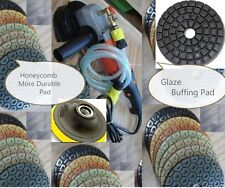 "Wet Concrete Granite Polisher 5"" Honeycomb Durable Polishing 12+1 Pad glaze buff"