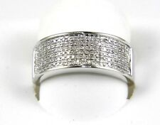 Fine Wide Round Pave Diamond Lady's Ring Band 14k White Gold .34Ct