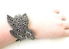 Charcoal Dark Silver Black Bracelet Cuff 1920s 30s Great Gatsby Flapper Vtg 1050