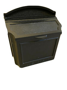 Black, Steel, Wall-Style Mailbox with Locking Lid and Keys - Excellent Condition