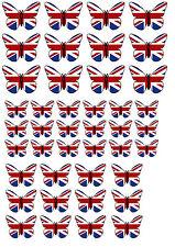 ✿ 42 Essbares Reispapier Tasse Tortenaufsatz, Dekorationen - Union Jack