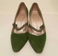 Authentic Christian Dior Green Suede Wedge Shoes Size Euro 39/US 8.5