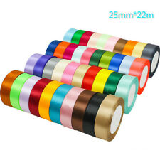 22m Double Sided Satin Ribbon for Party Gift Wrapping10mm 20mm 25mm 40mm Widths