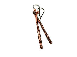 Antique Copper Hammered Stick Earrings - Hypoallergenic Niobium