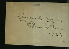 Edmund Breese Vintage Signed Piece Of Paper Dated 1933 Zander In Duck Soup
