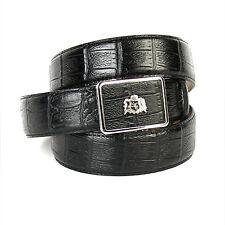 ANTHONI CROWN Herren LEDERGÜRTEL schwarz mit silberfarbener Schließe, Metalllogo