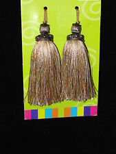 2 Gold Key Fringe Tassels with Silver Tops -Great for a Tapestry, Curtains etc..
