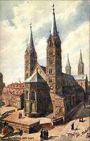 Bamberg in Bayern Tuck`s Postkarte~1910/20 Straßenpartie am Dom ungelaufen