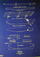 "Vintage Surfboard Hermosa Beach CA 1949 Surf Club Blueprint Plan 17""x23"" (300)"