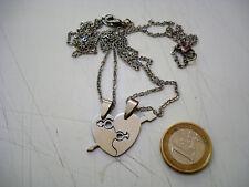 doppia collana acciaio cuore spezzato ciondolo pendolo catenina bigiotteria