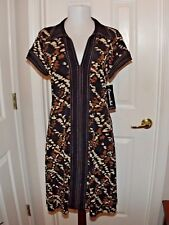 Connected Petite Black Brown Dress Womens 8P Short Sleeve New With Tag (r)