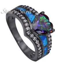 Hot Sale Black Gold Plated Created Fire Opal Rainbow Heart Cocktail Ring Gift
