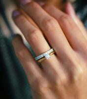 Zwei Diamanten Ringe Set 31 Brillanten 1,14ct 14K 585er Gelbgold Weiß Rose Gold