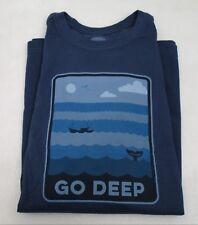Men's Life is Good T Shirt Fishing Go Deep Large
