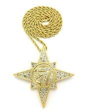 "14k Gold Five Percenter 5% 7 Star NGE Pendant Necklace 24"" Rope Chain Allah"