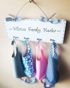 Personalised Face Mask Holder Organiser Storage Wall Hanger Home Decor Hooks Key