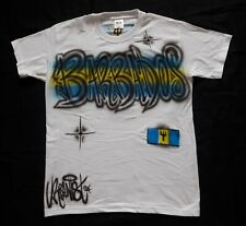 Urbanist Airbrushed Barbados graffiti adult t-shirt 2 colours with flag
