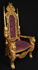 Carved Mahogany King Lion Gothic Throne Chair Gold Finish with Purple Velour 6'