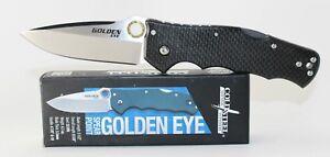 Cold Steel Golden Eye Elite Spear Point Pocket Knife Carbon Fiber Handle 62QCFS