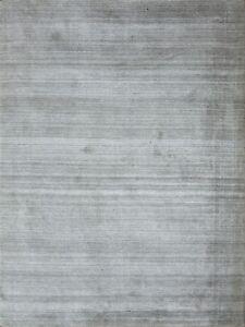 4'x 6' Rug | Handmade Hand Woven Wool & Viscose Gray  Area Rug