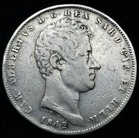 Sardegna . Carlo Alberto 5 Lire 1842 Gênes