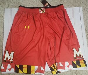 Large OR XL - Under Armour UA Maryland Terrapins Terps Basketball Shorts NWT RED