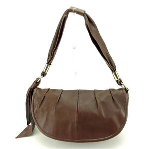 Sergio Rossi Shoulder bag Brown Gold Woman Authentic Used L1123