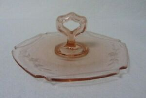 VINTAGE TIFFIN GLASS SMALL TIDBIT COOKIE CHEESE TRAY LIGHT PINK ETCHED FLOWERS