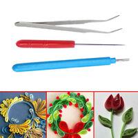 3pcs DIY Set Quilling Paper Tool Tweezer Needle Pin Slotted Pen Kit.