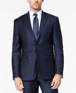 DKNY Men's Modern-Fit Navy Blue Pinstripe Suit Jacket 38R