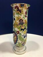 Vintage Lefton Ceramic Fantasia Paisley Slim Flower Vase Gold Trimmed Japan