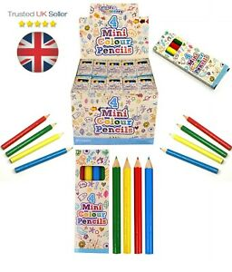 1 - 240 Packs 4 Mini Colouring PENCILS Kids Party Bags Fillers Toys Lucky Dip UK