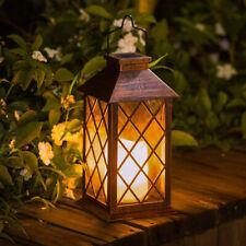 Solar Power Hanging Lantern LED Flameless Candle Light Outdoor Garden Waterproof