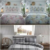 Flanlette Brushed 100%  Warm Cotton Double Quilt Cover Duvet Set Reversible UK