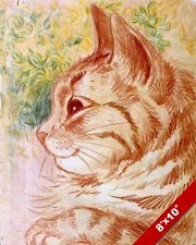 COZY ORANGE STRIPE CAT KITTEN PORTRAIT LOUIS WAIN PAINTING ART REAL CANVAS PRINT