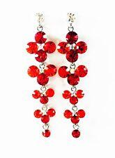 USA EARRING Rhinestone Austrian crystal RED gemstone Dangle Long Party