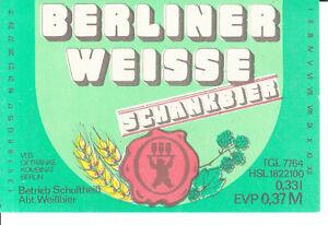 1 Bieretikett Berlin , Schultheiß Abt. Weissbier,  Berliner Weisse    DDR
