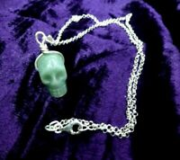 Carved Jade Skull on 925 real silver wire, hanger & chain Luck pendant Chinese