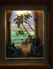 Sissi Janku Hand painted Light Admitting 3 D Shadow Box Tropical Art