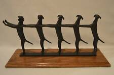 GOLDEN CONGA LINE Dancing Dogs Global Views Bronzed Sculpture On Wood Base