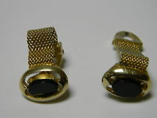 with black stone Vintage Cufflinks gold tone