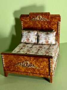 Artisan signed fully dressed bed; 1:12 scale